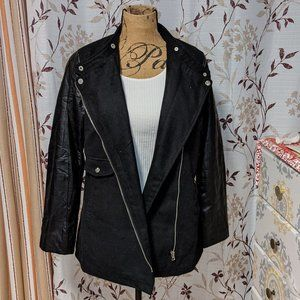 Miss London Pleather & Wool Black Jacket. Size: M